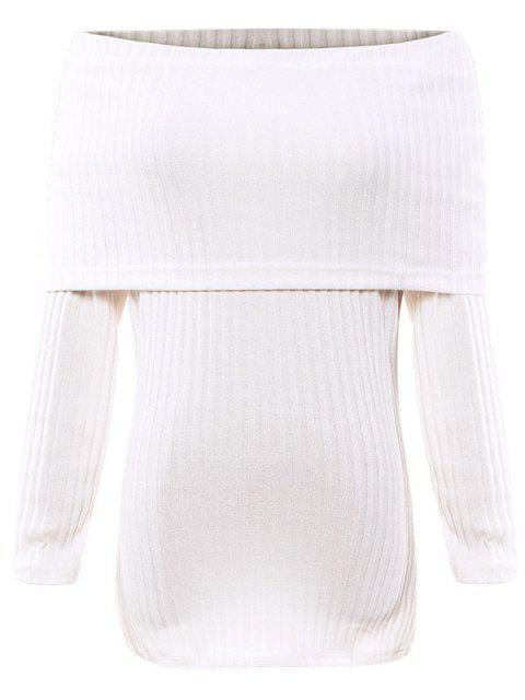 fashion Foldover Off The Shoulder Jumper - WHITE M Mobile