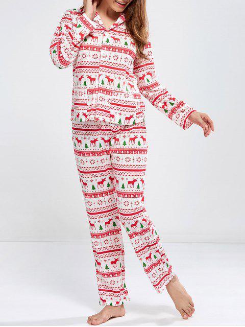 online Deer Print Long Sleeve Christmas Pajamas - RED M Mobile
