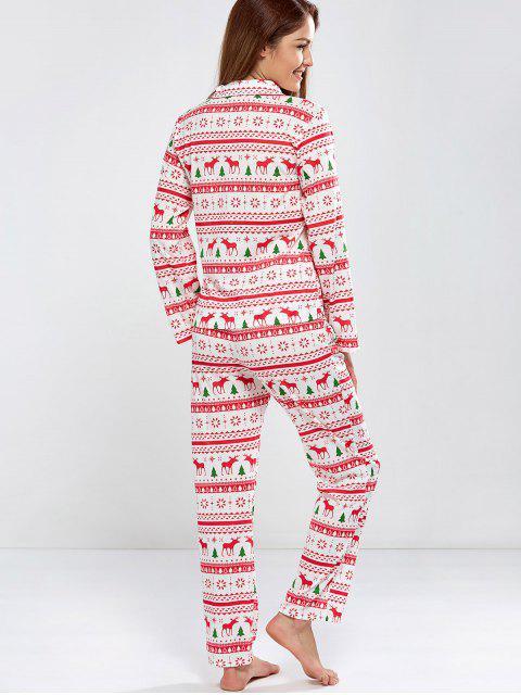 lady Deer Print Long Sleeve Christmas Pajamas - RED XL Mobile