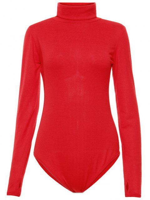 fancy Gloved Sleeve Turtle Neck Bodysuit - RED S Mobile