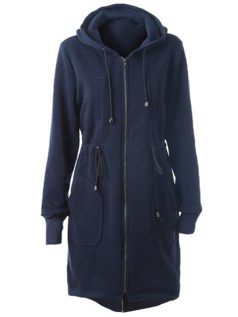 outfits Long Zip Up Hoodie - CADETBLUE M Mobile
