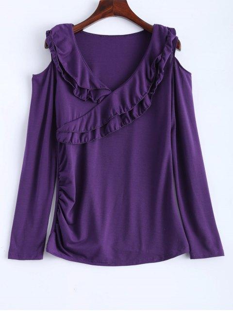best Cold Shoulder V Neck Ruffles T-Shirt - PURPLE XL Mobile