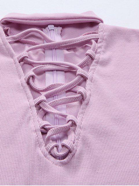 Long Sleeve Lace Up Choker Bodysuit - Bleu Cadette XL Mobile