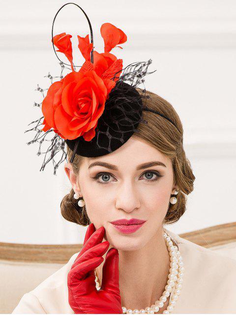 trendy Floral Lace Cocktail Hat - BLACK  Mobile