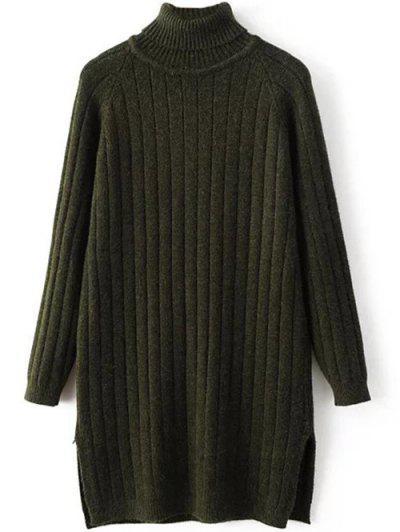 Turtleneck Side Slit Ribbed Knit Sweater
