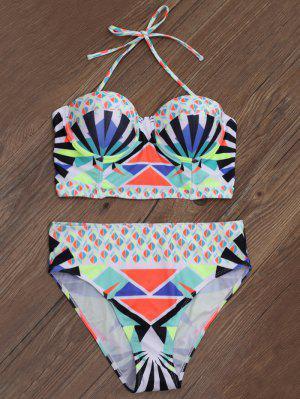 Geometric Print Underwire Bikini - Multicolor L