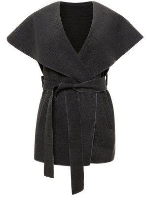 Weste aus Wollmischung  mit Schal Kragen und Gürtel