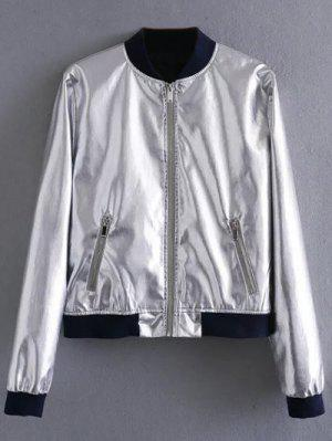 Metallic Colored Bomber Jacket - Silver M