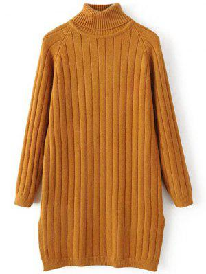Turtleneck Ribbed Knit Long Sweater - Earthy
