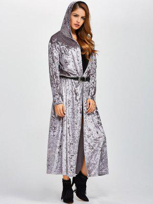Hooded Maxi Velvet Coat With Pockets - Gray