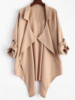 Plus Size Rolled Sleeve Draped Trench Coat - Khaki 3xl