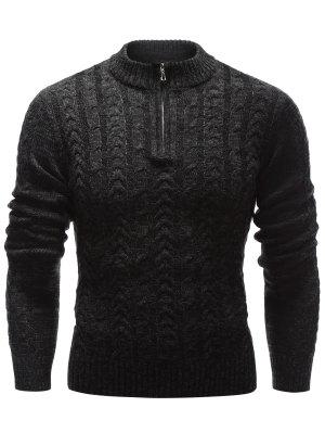 Stand Collar Half Zip Up Cable Knit Sweater