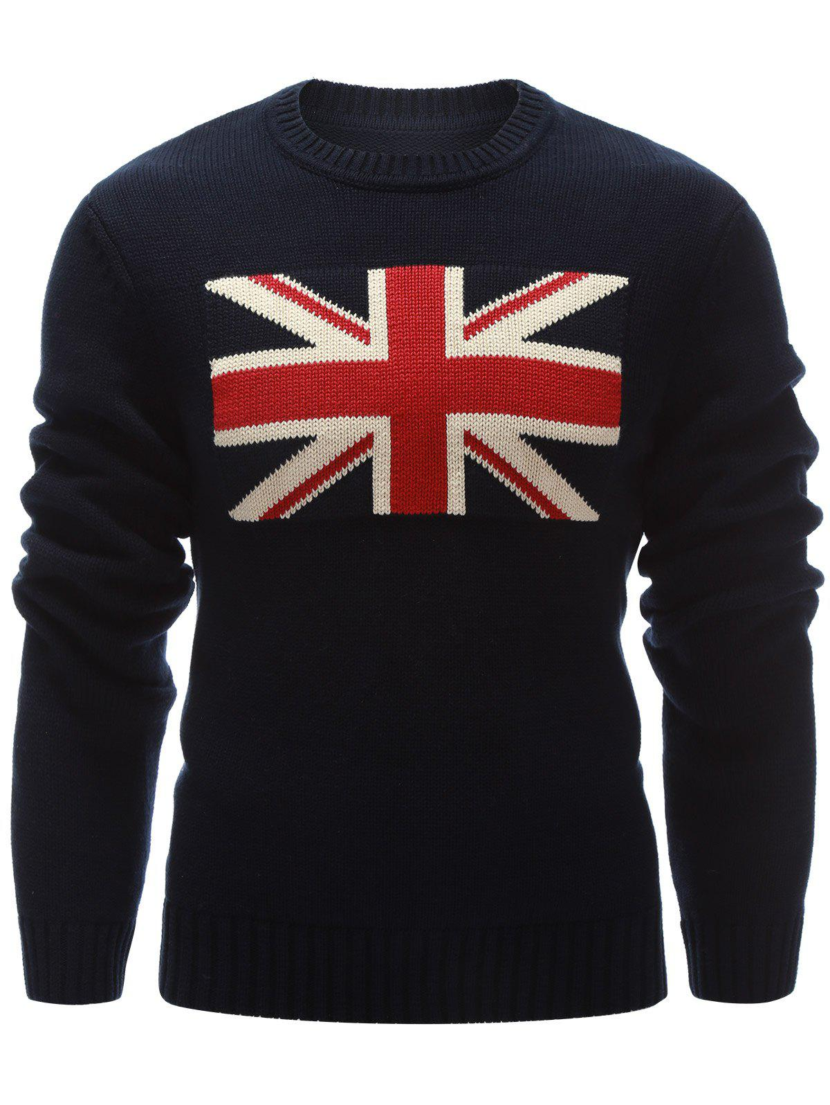 Flag Pattern Crew Neck Flat Patriotic Sweater 201271903