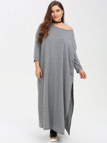 Plus Size High Slit Maxi Dress - Gray 3xl