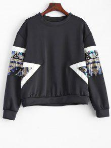 Patched Sequin Sweatshirt - Black L