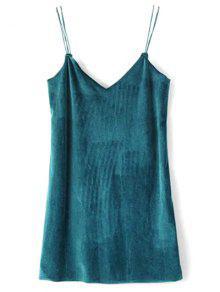 Strapy Velvet Mini Dress - Peacock Blue S
