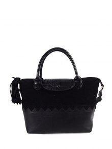 جلد الغزال لوحة اللون كتلة شرابة حقيبة يد - أسود