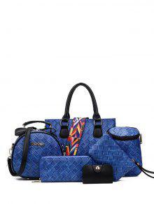 النسيج حقيبة يد مع حزام ملون - أزرق