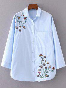 Camisa Bordada Floral De Cuello Camisa - Azur S