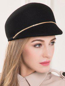 Buy Chain Embellished Wool Beret - BLACK