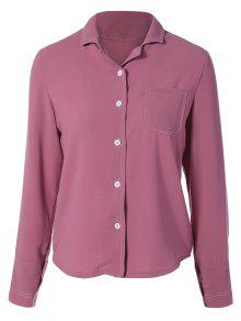 Single-Breasted Lapel Collar Shirt - Wine Red M