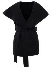 Wool Blend Shawl Collar Belted Waistcoat - Black Xl