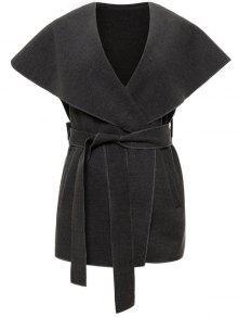 Wool Blend Shawl Collar Belted Waistcoat - Deep Gray S