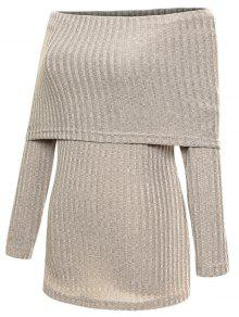 Foldover Off The Shoulder Jumper - Gray S