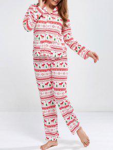 Deer Print Long Sleeve Christmas Pajamas - Red S