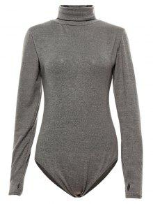 Gloved Sleeve Turtle Neck Bodysuit - Gray M