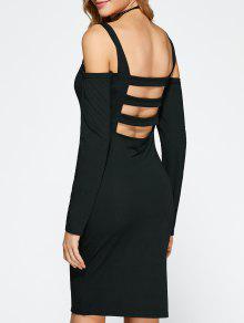 فستان باردة الكتف عارية الظهر - أسود S