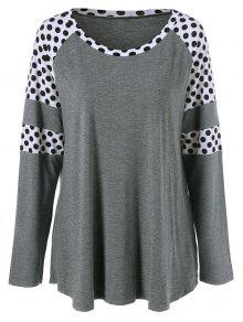 Polka Dot Patchwork Plus Size Tee - Grey And White 5xl
