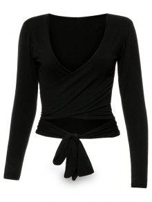 Long Sleeve Wrap Front Criss Cross Crop Top - Black S
