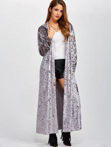 Hooded Maxi Velvet Coat With Pockets GRAY: Jackets & Coats ONE ...