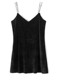 Strapy Velvet Mini Dress - Black M