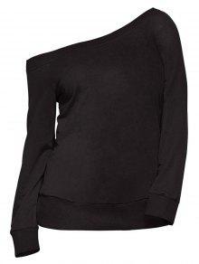 Pullover One Shoulder Sweatshirt - Black M