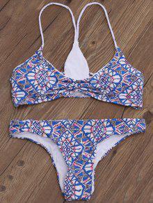 Strappy Back Shirred Bikini Set - Multicolor Xl