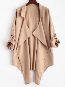Plus Size Rolled Sleeve Draped Trench Coat - Khaki 3xl