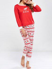 Christmas Deer Print Long Sleeve Pajamas - Red S