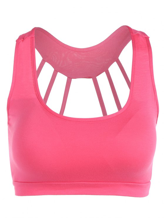 lady Padded Back Strappy Yoga Top - ROSE RED ONE SIZE