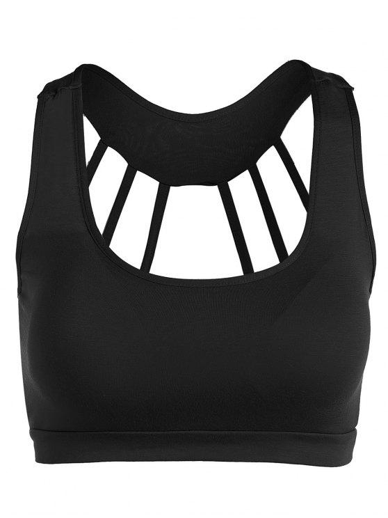 ladies Padded Back Strappy Yoga Top - BLACK ONE SIZE