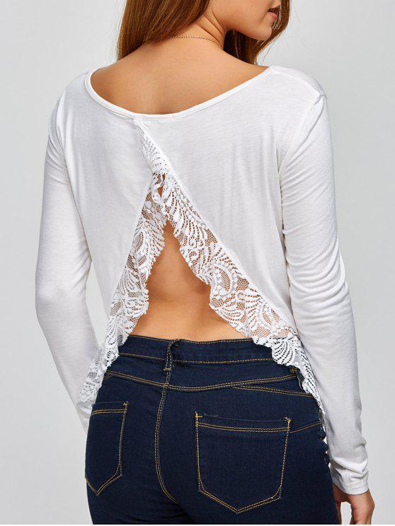 shop Lace Spliced Back Cutout T-Shirt - WHITE S