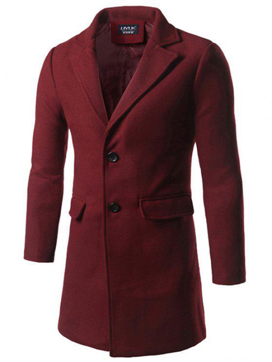 Notch risvolto Indietro Vent di lana a due pulsanti Coat - Borgogna 3XL