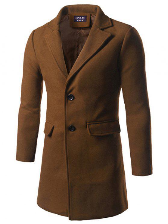 Notch risvolto Indietro Vent di lana a due pulsanti Coat - Cammello 3XL