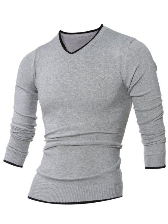 Scollo a V Selvedge impreziosito Knitting Sweater - Grigio L