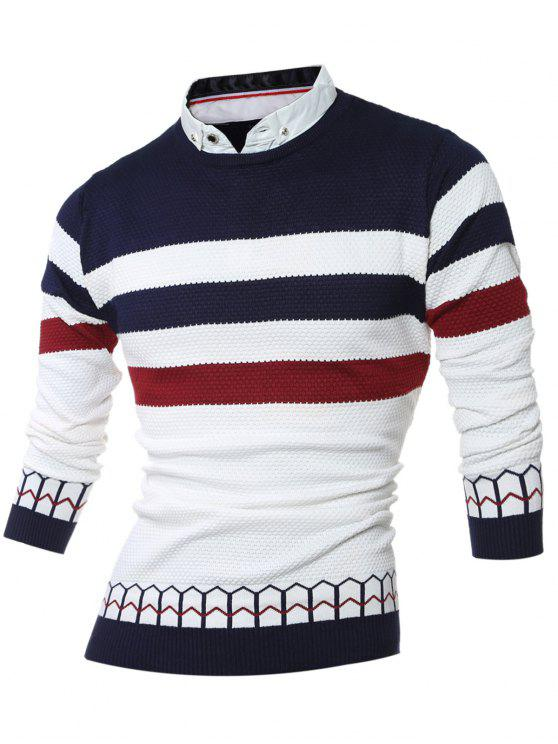 Faux Twinset shirt Collar Color Block Stripe emendado Knitting Sweater - Cadetblue M