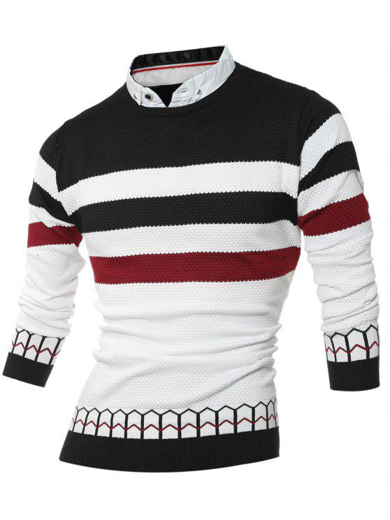 women Faux Twinset Shirt Collar Color Block Stripe Spliced Knitting Sweater - BLACK 2XL