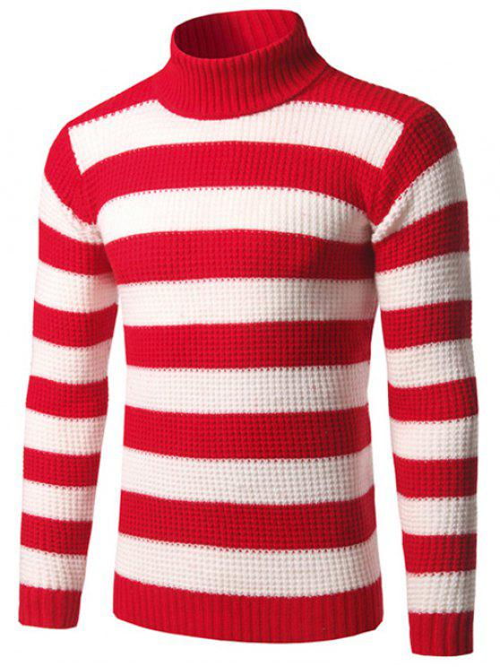 Turtleneck rayé Texture Sweater - Rouge M