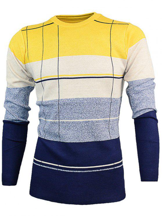 fashion Crew Neck Color Block Pullover Knitwear - YELLOW XL