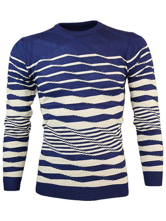 women's Crew Neck Wave Stripe Pullover Knitwear - CADETBLUE M